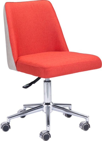 Zuo Modern 100234 Season Office Chair Color Orange & Beige Chromed Steel Finish - Peazz.com - 1
