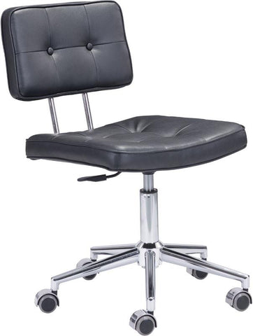 Zuo Modern 100236 Series Office Chair Color Black Chromed Steel Finish - Peazz.com - 1