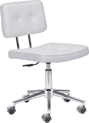 Zuo Modern 100237 Series Office Chair Color White Chromed Steel Finish - Peazz.com - 1