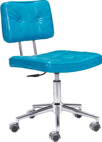 Zuo Modern 100238 Series Office Chair Color Blue Chromed Steel Finish - Peazz.com - 1