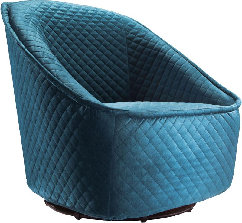 Zuo Swivel Chair Color Quilted Aquamarine Metal Pug