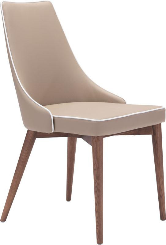 Dining Chair Color Beige Powder Coated Metal Solid Wood Moor 3982 Product Photo