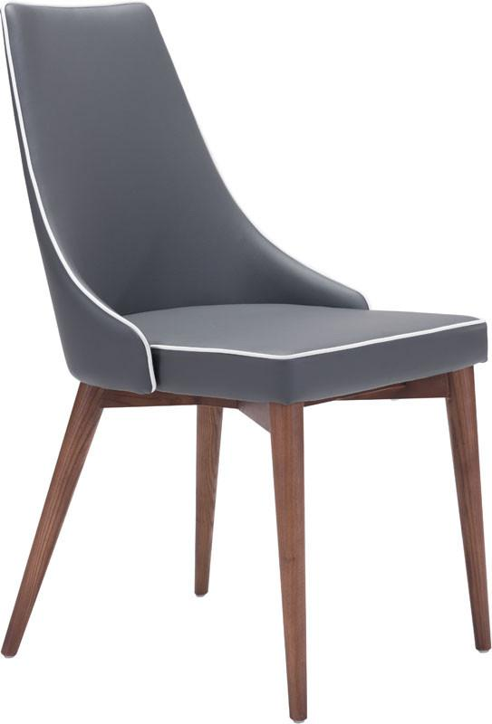 Dining Chair Color Dark Gray Powder Coated Metal Solid Wood Moor 3983 Product Photo