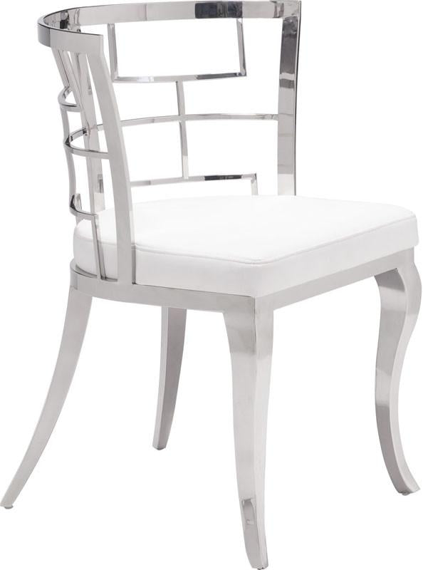 Zuo Dining Chair Color White Stainless Steel Quince 5455