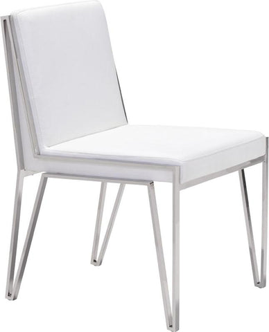 Zuo Modern 100334 Kylo Dining Chair Color White Stainless Steel Finish - Set of 2 - Peazz.com - 1