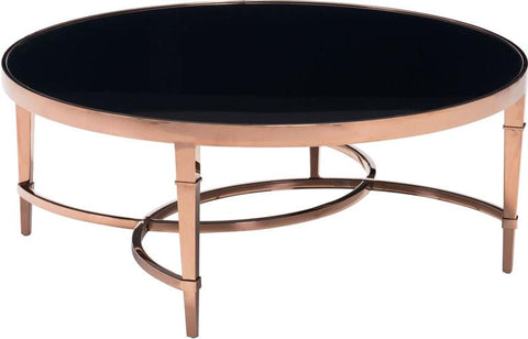 Zuo Modern 100347 Elite Coffee Table Color Rose Gold & Black Polished Stainless Steel Finish - Peazz.com - 1