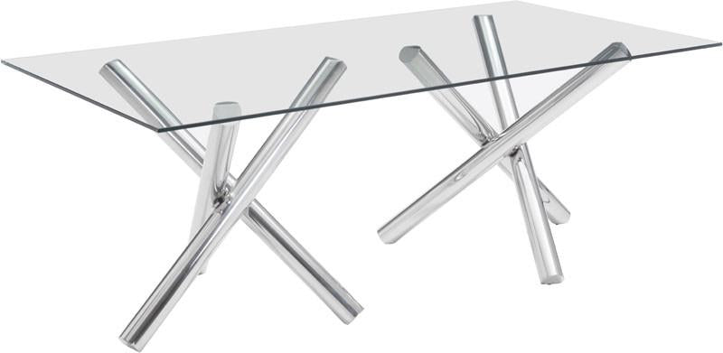 Zuo Rectangular Dining Table Chrome Stainless Steel Stant