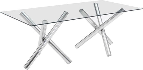 Zuo Modern 100351 Stant Rectangular Dining Table Color Chrome Stainless Steel Finish - Peazz.com - 1