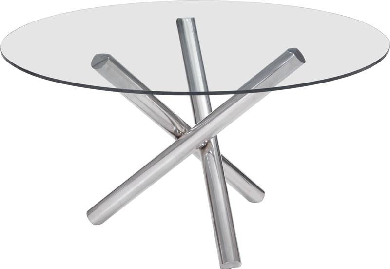Zuo Round Dining Table Color Chrome Stainless Steel Stant