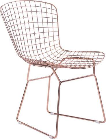 Zuo Modern 100361 Wire Dining Chair Color Rose Gold Chromed Steel Finish - Set of 2 - Peazz.com - 1