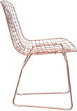 Zuo Modern 100361 Wire Dining Chair Color Rose Gold Chromed Steel Finish - Set of 2 - Peazz.com - 2