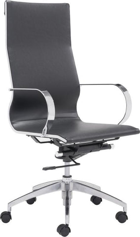 Zuo Modern 100371 Glider High Back Office Chair Color Black Chromed Steel, Brushed Aluminum Finish - Peazz.com - 1