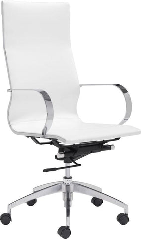 Zuo Modern 100372 Glider High Back Office Chair Color White Chromed Steel, Brushed Aluminum Finish - Peazz.com - 1