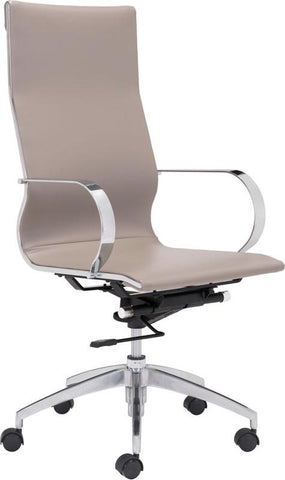 Zuo Modern 100373 Glider High Back Office Chair Color Taupe Chromed Steel, Brushed Aluminum Finish - Peazz.com - 1