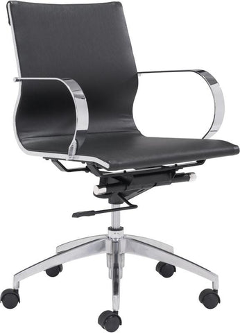 Zuo Modern 100374 Glider Low Back Office Chair Color Black Chromed Steel, Brushed Aluminum Finish - Peazz.com - 1