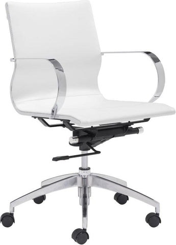 Zuo Modern 100375 Glider Low Back Office Chair Color White Chromed Steel, Brushed Aluminum Finish - Peazz.com - 1