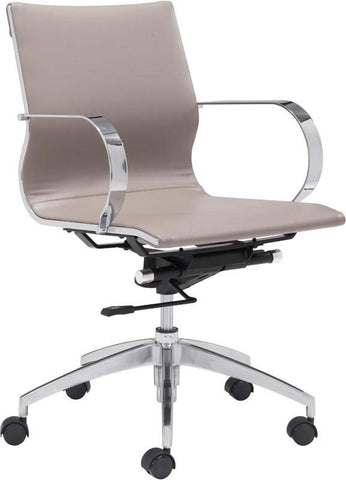 Zuo Modern 100376 Glider Low Back Office Chair Color Taupe Chromed Steel, Brushed Aluminum Finish - Peazz.com - 1