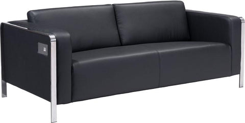 Zuo Modern 100389 Thor Sofa Color Black Stainless Steel Finish - Peazz.com - 1