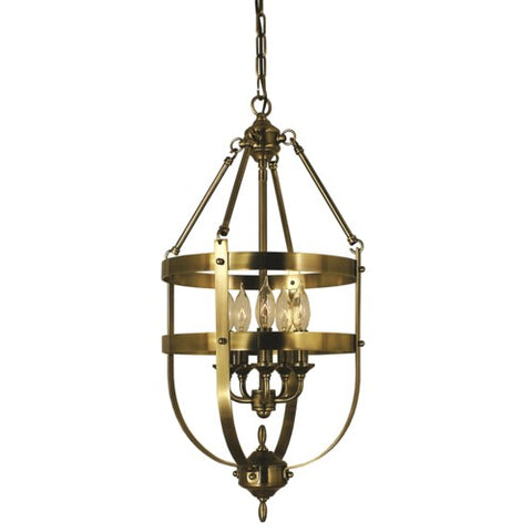 Framburg 1016-AB 5-Light Antique Brass Hannover Dining Chandelier