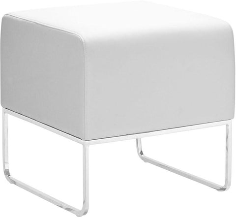 Zuo Modern 103004 Plush Ottoman Color White Chromed Steel Finish - Peazz.com - 1