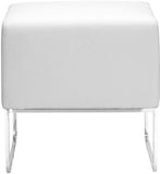 Zuo Modern 103004 Plush Ottoman Color White Chromed Steel Finish - Peazz.com - 3