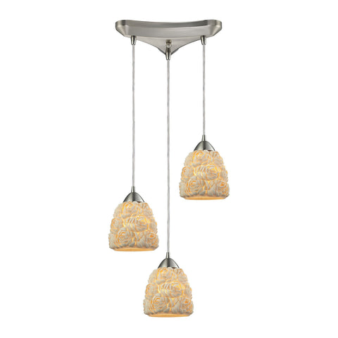 ELK Lighting 10414/3 Shells Collection Satin Nickel Finish - PeazzLighting