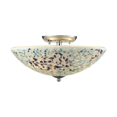 ELK Lighting 10418/3 Glass Mosaic Collection Polished Chrome Finish - PeazzLighting