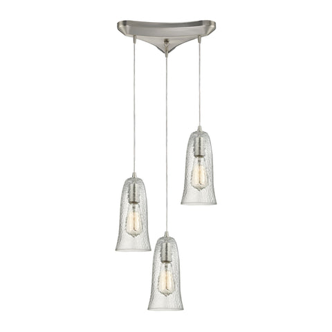 ELK Lighting 10431/3CLR Hammered Glass Collection Satin Nickel Finish - PeazzLighting