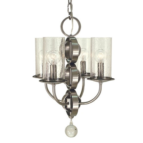 Framburg 1043-BN/F 4-Light Brushed Nickel/Frosted Glass Compass Dining Chandelier
