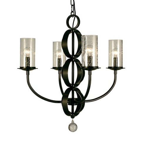Framburg 1044-MBLACK 4-Light Matte Black Compass Dining Chandelier