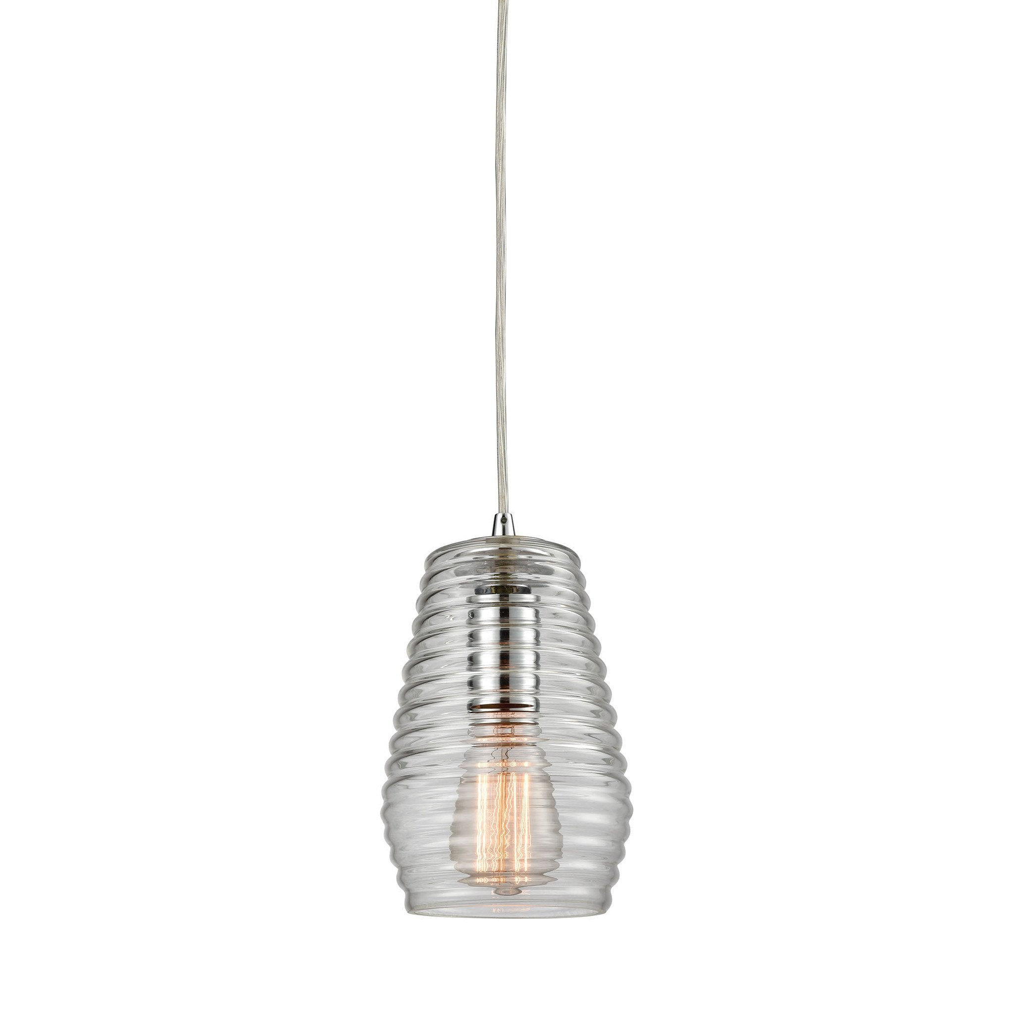 ELK Lighting 10523/1 Ribbed Glass Collection Polished Chrome Finish