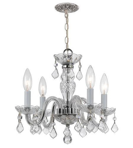 Crystorama 1064-CH-CL-I 4 Light Clear Italian Crystal Chrome Mini Chandelier I - PeazzLighting