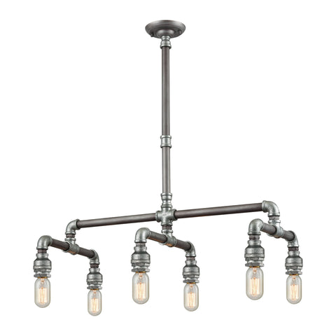 ELK Lighting 10691/6 Cast Iron Pipe Collection Weathered Zinc,Zinc Plating Finish - PeazzLighting