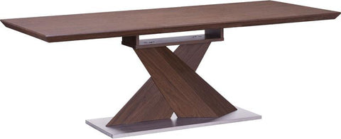 Zuo Modern 107859 Jaques Extension Dining Table Color Walnut Brushed Stainless Steel Finish - Peazz.com - 1