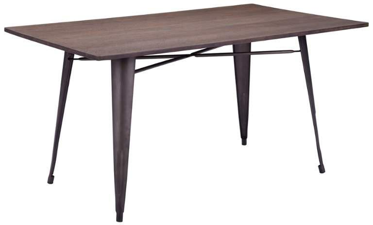 Zuo Rectangular Dining Table Color Rustic Wood Steel 16902