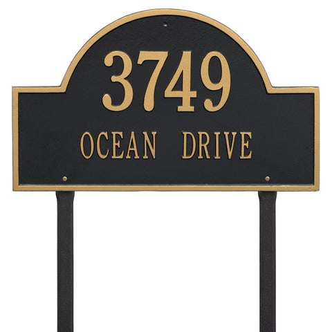 Arch Marker - Estate Lawn - Two Line - BG -  Black/Gold