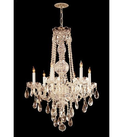 Crystorama 1106-PB-CL-MWP Traditional Crystal 6 Light Crystal Brass Chandelier III - PeazzLighting