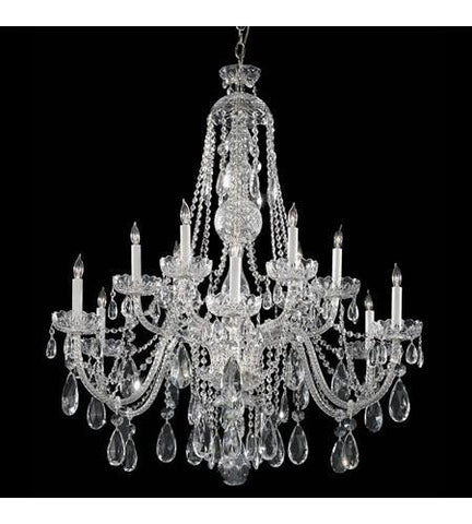 Crystorama 1114-CH-CL-SAQ Traditional Crystal 12 Light Clear Swarovski Spectra Crystal Chrome Chandelier III - PeazzLighting