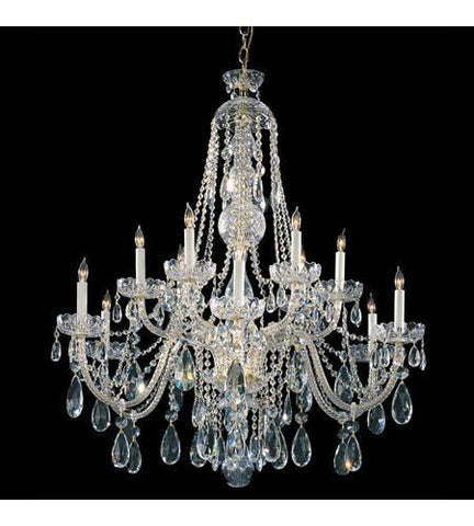 Crystorama 1114-PB-CL-SAQ Traditional Crystal 12 Light Clear Swarovski Spectra Crystal Polished Brass Chandelier III - PeazzLighting