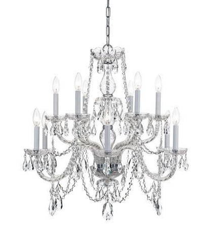 Crystorama 1135-CH-CL-I Traditional Crystal 12 Light Italian Crystal Chrome Chandelier - PeazzLighting