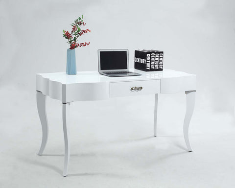 Chintaly 1214-DSK-WHT Cabriolet leg computer desk w/ drawer