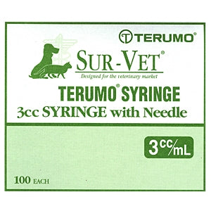 "Syringe 3 cc, 22 ga. x 3/4"" (Terumo) 100/box RL - Peazz Pet"