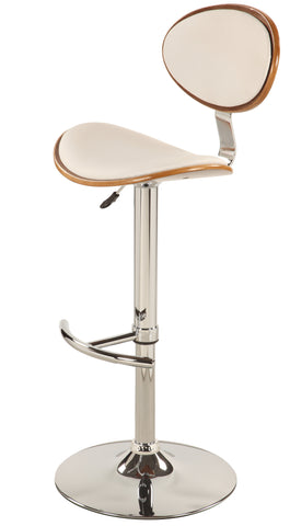Chintaly 1309-AS-WHT Wood Back & Seat Pneumatic Stool