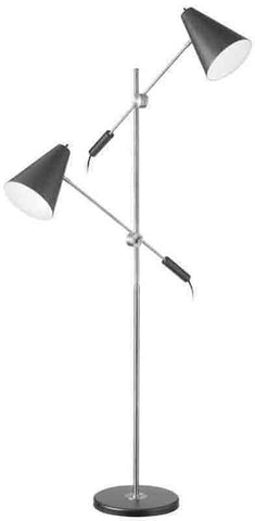 Dainolite 130F-BK-PC 2LT Floor Lamp, Matte Black Metal Shade, PC