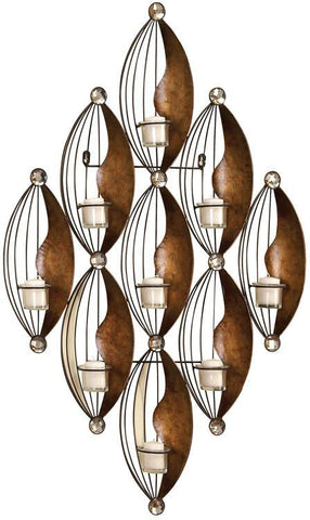 Benzara 13118 Metal Wall Votive Holder With 37 Inch Height