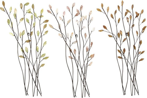Benzara 13473 Metal Wall Decor Set Of 3 Assorted Casted In Twig Shape