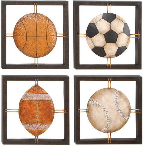 Benzara 13558 Metal Wall Plaque Set Of 4 Assorted Specially Made For Ball Lovers