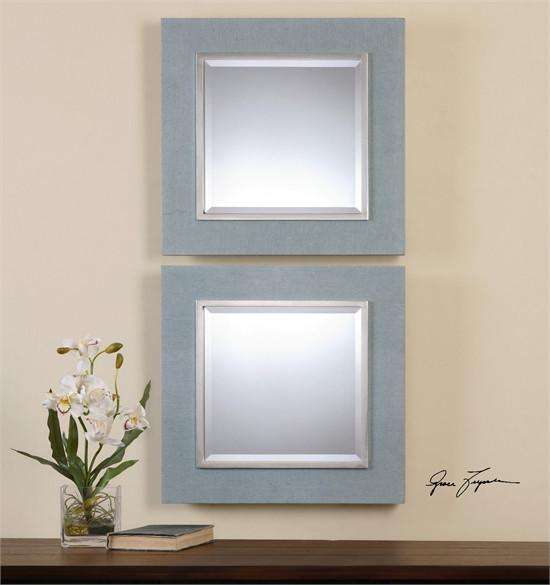Uttermost Tory Denim Square Mirrors, S/2 (14498)