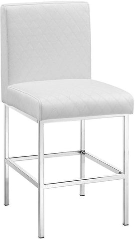 Linon 145009WHT01U Clarey White Quilted Diamond Counter Stool