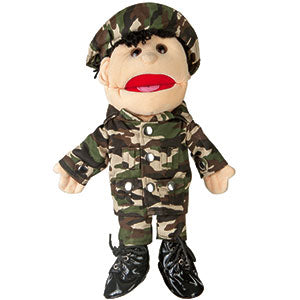 "14"" Army Boy Glove Puppet w/ Brown Eyes"